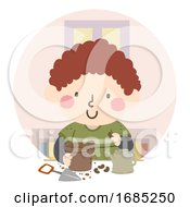 Poster, Art Print Of Kid Boy Plant Seed Pot Classroom Illustration