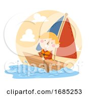 Kid Boy Boat Sailing Rowing Illustration