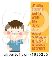 Kid Boy Months Speech Bubble Illustration