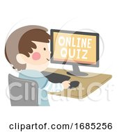 Kid Boy Online Quiz Illustration