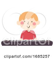 Poster, Art Print Of Kid Boy Play Piano Keyboard Illustration