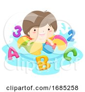 Poster, Art Print Of Kid Boy Play Pool Game 123 Illustration