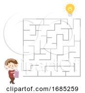 Kid Boy Read Book Maze Illustration