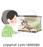 Poster, Art Print Of Kid Boy Reptile Terrarium Illustration