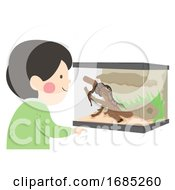 Kid Boy Reptile Terrarium Illustration