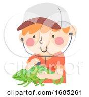 Poster, Art Print Of Kid Boy Reptile Vet Chameleon Illustration