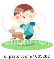 Poster, Art Print Of Kid Boy Run Barefoot Grass Dog Illustration
