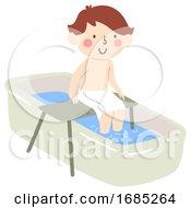 Kid Boy Bath Transfer Illustration