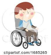 Kid Boy Sleeping Wheelchair Illustration