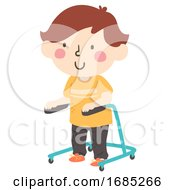 Kid Boy Gait Therapy Illustration
