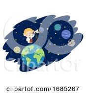 Kid Boy Astronomer Space Illustration