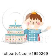 Kid Boy Prince Cake Illustration