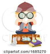 Kid Boy Travel Suitcase Binoculars Illustration