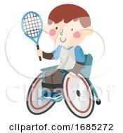 Poster, Art Print Of Kid Boy Wheel Chair Tennis Racket Illustration