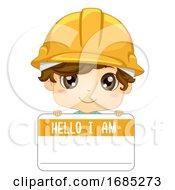 Kid Boy Engineer Name Tag Illustration