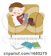 Kid Boy Procrastinating Study Tablet Illustration