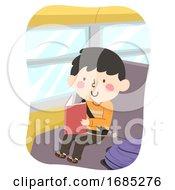 Poster, Art Print Of Kid Boy Read Book Bus Illustration