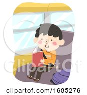Kid Boy Read Book Bus Illustration