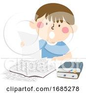 Kid Boy Read Out Loud Study Hack Illustration