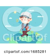 Kid Boy Map Travel World Mobile App Illustration