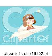 Kid Boy Fly Paper Plane Pilot Illustration
