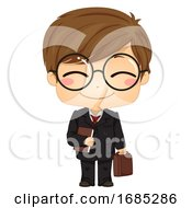 Kid Boy Lawyer Illustration