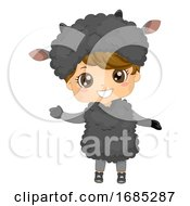 Kid Boy Animal Costume Black Sheep Illustration