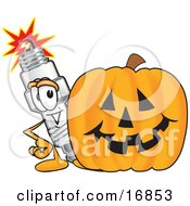 Clipart Picture Of A Spark Plug Mascot Cartoon Character Standing By A Halloween Pumpkin