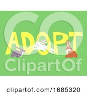 Adopt Rabbit Lettering Illustration