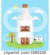 Milk Farm Barn Illustration