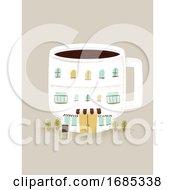 Coffee Building Miniature Illustration
