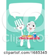 Mascot Spoon Fork Food Order Talk Illustration