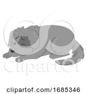 Poster, Art Print Of Dog Dying Always Sleeping Illustration
