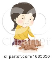 Kid Girl Animal Dog Reiki Massage Illustration