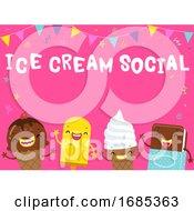 Mascot Ice Cream Ice Cream Party Illustration