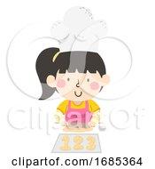 Kid Girl Bake 123 Number Bread Illustration