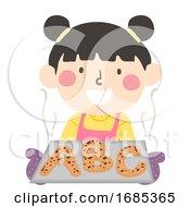 Kid Girl Bake Bread Illustration