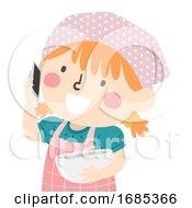 Kid Girl Phone Invite Bake Illustration