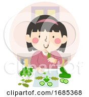 Kid Girl Assemble Plant Food Green Project