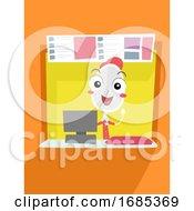 Mascot Spoon Food Park Counter Illustration