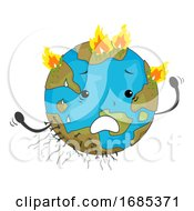 Earth Mascot Wildfire Illustration