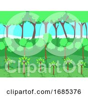 Tree Plants Level Illustration