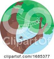 Spider On Tree Commensalism Illustration