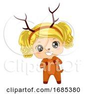 Kid Girl Woodland Animal Deer Costume Illustration