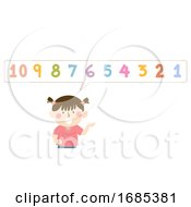 Kid Girl Count Backwards Illustration