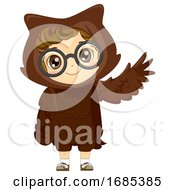 Kid Girl Woodland Animal Owl Costume Illustration