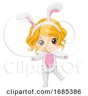 Kid Girl Woodland Rabbit Costume Illustration