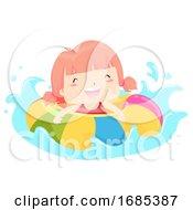 Kid Girl Float Happy Swimming Illustration