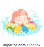 Kid Girl Float Happy Swimming Illustration