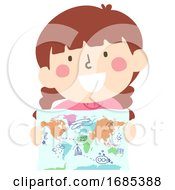 Kid Girl Hold Map Doodle Illustration